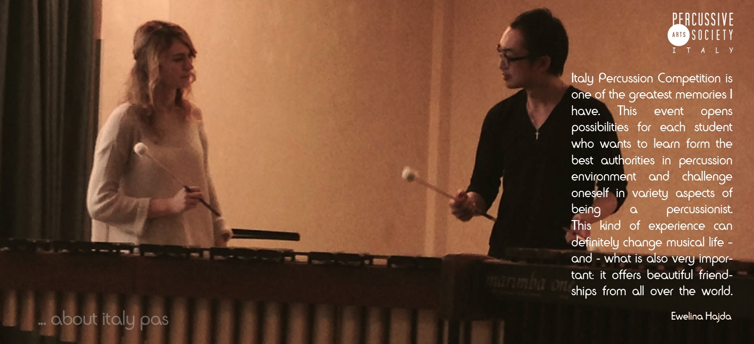 Ewelina Hajda about Italy PAS - Days of Percussion & Italy Percussion Competition